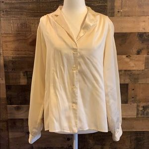 Vintage 80s Evan Picone off white collared blouse